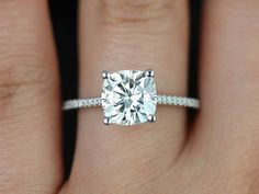 Marcelle 14kt White Gold Cushion FB Moissanite and by RosadosBox; FUTURE HUSBAND: PICK THIS STYLE RING.