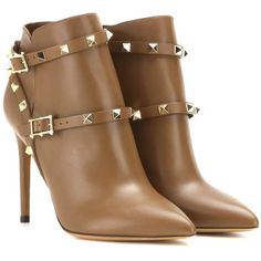 Valentino Rockstud Leather Ankle Boots ($770) ❤ liked on Polyvore featuring shoes, boots, ankle booties, booties, heels, ankle boots, brown, brown leather bootie, brown leather booties and heeled booties