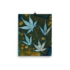 Cyanotype Art Print MAPLE LEAF QUAD home decor botanical wall decor. Botanical art print of a cyanotype print of maple leaves. Modern botanical art print. #artprintsforwalls #leafart #bedroomwallart #largewallart #wallartlivingroom