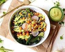 Roasted Chickpea Buddha Bowl with Cilantro Avocado Dressing from Simply Organic. #getfitwithcoacht