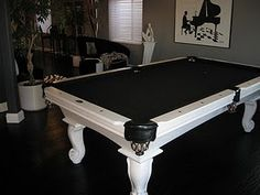 black felt pool table, nice
