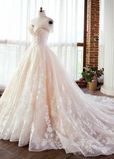 Ball gowns wedding - Fascinating Tulle & Lace Offtheshoulder Neckline Aline Wedding Dresses With Lace Appliques & Beadings Western Wedding Dresses, Dream Wedding Dresses, Lace Wedding, Mermaid Wedding, Modest Wedding, Beauty And The Beast Wedding Dresses, Disney Inspired Wedding Dresses, Rapunzel Wedding Dress, Extravagant Wedding Dresses