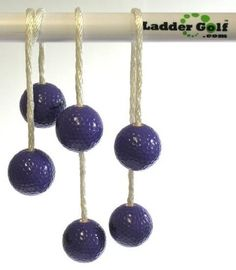 Ladder Golf Brand - Purple Bolas - Set of 3 by Ladder Golf, Inc. Save 2 Off!. $12.67. Additional sets of official Ladder Golf bolas can be purchased so more people can join the Ladder Golf game.  Each set of bolas is made real golf balls, specially designed brass inserts and premium nylon rope. All materials are resistant to wear and should offer a lifetime of game play.