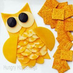 Transform an ordinary cheese tray into an adorable owl this Halloween.