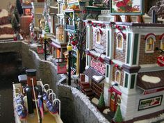 Feel the hustle and bustle of the city at Christmas time! Christmas In The City, Christmas Town, Christmas Time Is Here, Christmas 2016, Christmas Lights, Christmas Decorations, Xmas, Christmas Village Houses, Christmas Village Display