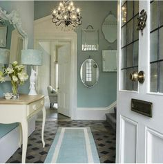 Such a beautiful entry! Laura Ashley hallway of dreams, with dark duck egg paint is part of Cottage Living Room Laura Ashley - Such a beautiful entry! Laura Ashley hallway of dreams, with dark duck egg paint interiorgoals Laura Ashley Interiors, Laura Ashley Home, Laura Ashley Living Room, Laura Ashley Bedroom Furniture, Laura Ashley Mirror, Laura Ashley Paint, Laura Ashley Kitchen, Style At Home, Ashley Home Furnishings