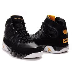 new arrival 9027d 50b4b Air Jordan 9 Mens Basketball Shoes Black White Yellow  1002009  -.
