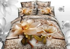 Alicemall Flower Bedding Sets Cotton Magnolia Paisley Flower Duvet Cover Sets, Floral California King Bedding Sets, 4 Pieces , No Comforter (California – A Luxury Bed – Silk Sheets Bedspreads Luxury Bedding 3d Bedding Sets, Queen Bedding Sets, Luxury Bedding Sets, Comforter Sets, Modern Bedding, Bedding Decor, Bedroom Decor, Comforter Cover, Duvet Cover Sets