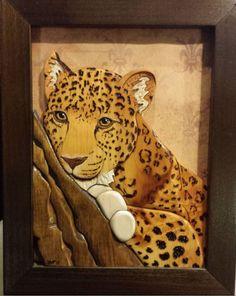 Leopard Handmade Wood Art Intarsia by DNAdesigns1 on Etsy