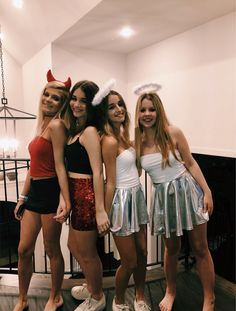 10 Cute and Funny Group Halloween Costumes for Women and Teens DIY Ideas Halloween iDeas ? Funny Group Halloween Costumes, Angel Halloween Costumes, Girl Group Costumes, Friend Costumes, Halloween Ideas, Family Halloween, Cute Teen Costumes, Bff Costume Ideas, Costumes Kids