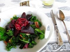 A Non-Sexy Salad That Will Rock Your World: Roasted Beets and Caraway on Wilted Greens | beyondthepeel.net