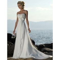 Simply Chiffon A-line  Sleeveless Flower Empire White Wedding Dresses