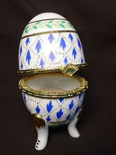 Vtg Faberge Egg Inspired Ceramic Trinket Ring Box Gift Jewelry Pill Easter Rose (02/27/2013)