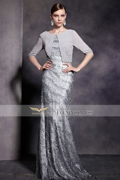 Elegant silver mermaid #motherdress for you! Show your perfect figure with the dress! #2016prom #wedding #promdress #longgown