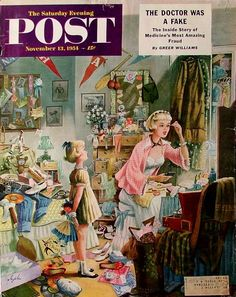 Getting Ready for a Date. Saturday Evening Post, November 13, 1954 (Constantin Alajalov)