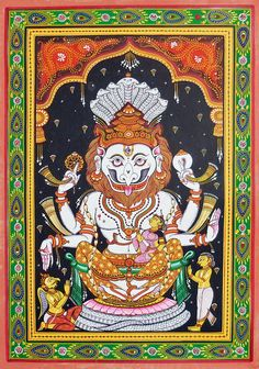 Narasimha Avatar (Orissa Pattachitra Painting on Patti - Unframed) Madhubani Art, Madhubani Painting, Kalamkari Painting, Krishna Painting, Indian Art Paintings, Indian Folk Art, Diy Art Projects, Hindu Art, Indian Gods