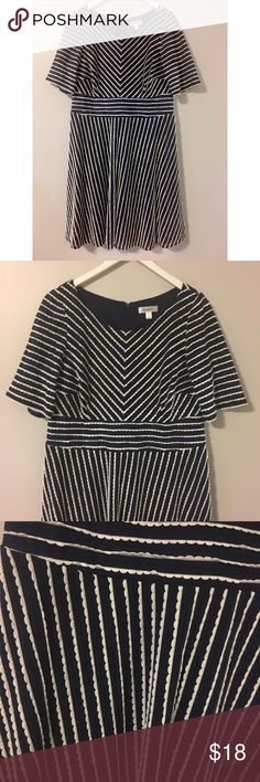 "Navy and White Striped Dress Adorable navy dress with scalloped stripes. A-line fit. Bust: 42"" Waist: 38"" Length: 40"" Bundle and save 20% ! Dress Barn Dresses"