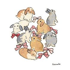 Acrylic Paint by Schinako Moriyama. Schinako Moriyama is an illustrator as bunny art from Fukushima, Japan Continue reading and for more Acrylic art→View Website Bunny Drawing, Bunny Art, Cute Bunny, Cute Animal Drawings, Cute Drawings, Lapin Art, Illustrator, Rabbit Art, Aesthetic Art