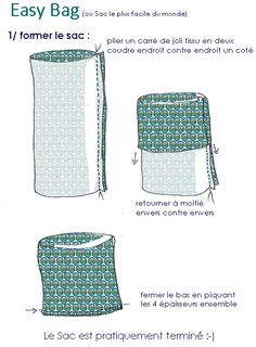 Diy Couture 8 Source by PascaleKlein Sewing Hacks, Sewing Tutorials, Sewing Projects, Sewing Patterns, Patchwork Patterns, Diy Couture, Couture Sewing, Diy Bags Purses, Simple Bags