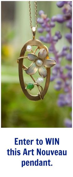 This lovely gold and enamel Art Nouveau pendant is currently up for grabs in my giveaway! Have you entered yet?