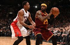 LeBron is guarded by DeMar DeRozen 3/4/2015.  Cavs beat the Toronto Raptors 120 to 112!!!  LeBron finished with 29-6-14!!!