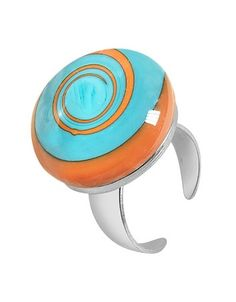 Akuamarina Swirling Murano Glass & Sterling Silver Open Ring | FORZIERI