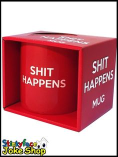 Shit Happens Mug in open display carton featuring the philosophical phrase popularised by Forrest Gump. Funny Office Jokes, Office Humour, Funny Gifts For Him, Joke Gifts, Novelty Mugs, Novelty Gifts, Great Jokes, Personalized Mugs, Funny Mugs