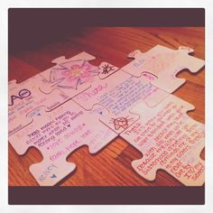 Memory Puzzle. Write a memory on each puzzle piece that he has to put together - cute stocking stuffer idea.