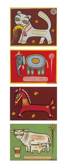 Jamini Roy Untitled (Cat with Shrimp, Elephant, Horse, Cow and Calf) Modern Indian Art, Indian Folk Art, Indian Artist, Madhubani Art, Madhubani Painting, Traditional Paintings, Traditional Art, Om Namah Shivaya, Jamini Roy