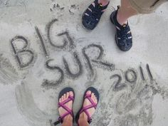 On a California beach, writing in purple sand. Sand Writing, Sand Art, California Beach, Beach Photos, Sea, Purple, The Ocean, Ocean, Viola