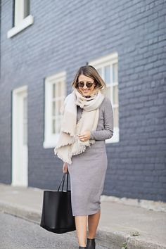 soft-blanket-scarf with knit midi dress bmodish