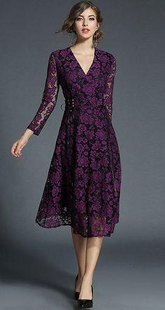 Purple Romantic Hit Color Hollow Out Skater Dress