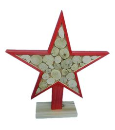Holiday Cheer Red Wood Slice Star Table Decor | Christmas Centerpiece
