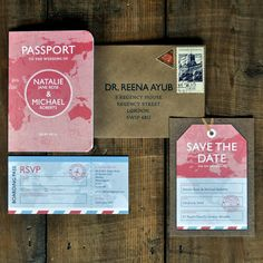 Passport Wedding Invitation Set & Save The Date Card or Magnet. Passport Wedding Invitations, Wedding Invitation Templates, Wedding Stationery, Invites, Invitation Suite, Invitations Online, Save The Date Magnets, Save The Date Cards, Luxury Card
