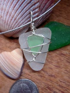 Green on White Seaglass with Sterling Silver Wire Pendant / Necklace