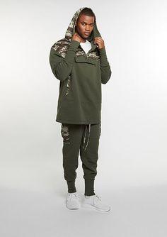 5f52772efecdf8 Cayler   Sons Hooded-Sweatshirt CSBL Section Loose Fit Half Zip olive tiger  camo