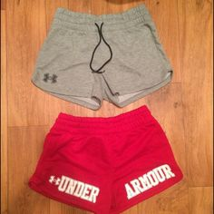 UNDERARMOUR shorts set bundle red and grey medium 2 pairs of UNDERARMOUR shorts medium. Grey and red Under Armour Shorts