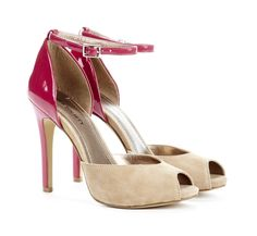 Pretty Two-Tone Pumps with High-Gloss Berry Back & Suede Beige Front.