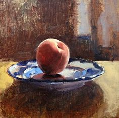 Peach on a Blue Plate by artist Janet Smedley. #painting found on the FASO Daily Art Show - http://dailyartshow.faso.com