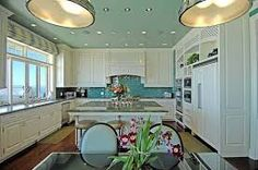 Image result for turquoise grey white kitchen