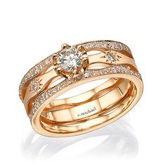 Rose gold ring, Rose diamond ring, 14K rose ring, Promise ring, Engagement ring, Anniversary ring, Rose engagement, Unique engagement ring