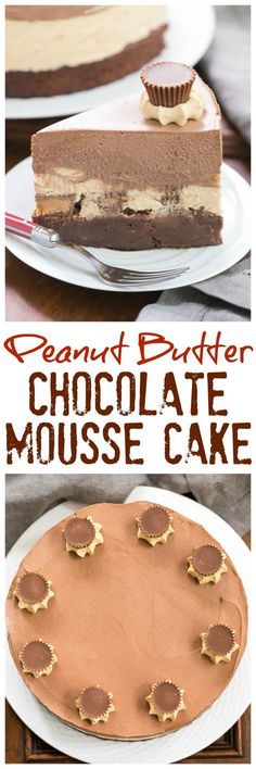 Peanut Butter Chocolate Mousse Cake | A brownie base topped with both peanut butter and chocolate mousse make a dream dessert! @lizzydo