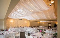 Beautiful ceiling draping with fairy lights at Gracehill Wedding Venue. Wedding Draping, Wedding Venues, Fairy Lights Ceiling, Wedding Venue Inspiration, Valance Curtains, Rustic, Table Decorations, Lighting Ideas, Room
