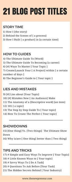 21 blog post titels. Beste blog ideeën voor je borden.
