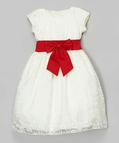 Look at this Lito Children's Wear Ivory & Red Sash Overlay Dress - Infant & Toddler on #zulily today!