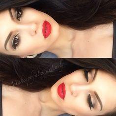 perfect red lips, dark hair