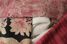 Vintage French fabrics antique material PROJECT BUNDLE toile ticking linen