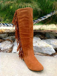 CHEROKEE INDIAN SIDE FRINGE CHESTNUT DK TAN SUEDED WOMENS TALL BOOT FLAT HEEL | eBay