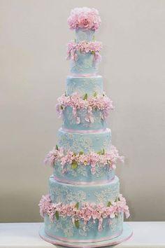 Stunning 'Something Blue' wedding cake by the uber talented Liz Solaru www.kerryjacksonrider.co.uk