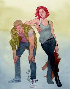 kevin wada illustration: Clint Barton & Natasha Romanoff Street wear brawl...